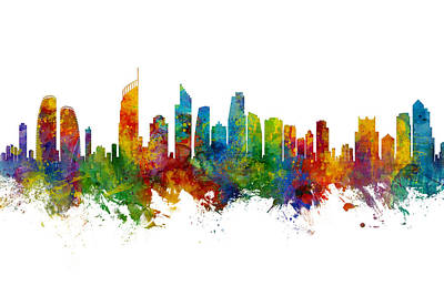 Digital Art - Gold Coast Australia Skyline by Michael Tompsett
