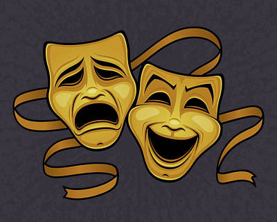 Royalty-Free and Rights-Managed Images - Gold Comedy And Tragedy Theater Masks by John Schwegel