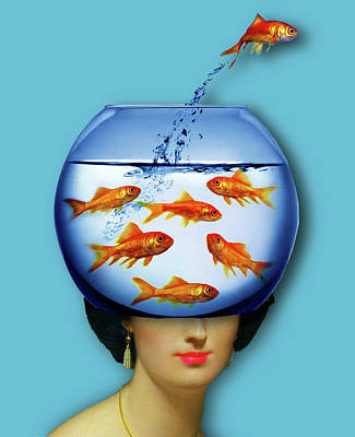 Surrealism Royalty-Free and Rights-Managed Images - Gold Fish Bowl Woman Surreal by Tony Rubino