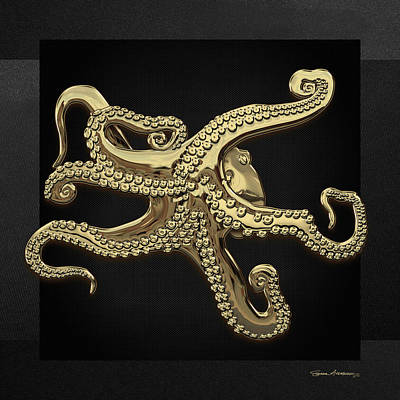 Digital Art - Gold Octopus On Black Canvas by Serge Averbukh