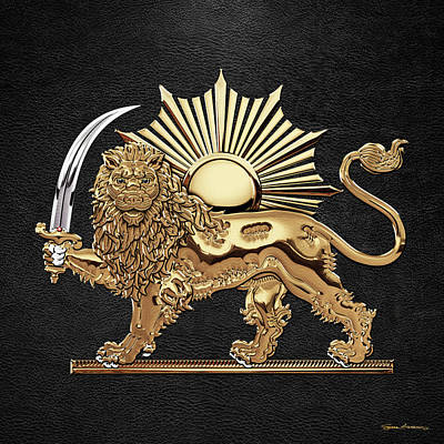 Digital Art - Gold Persian Lion And Sun Over Black Leather by Serge Averbukh