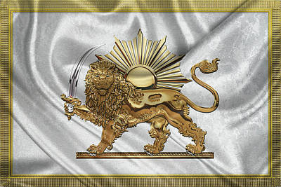 Digital Art - Gold Persian Lion And Sun Over Flag by Serge Averbukh