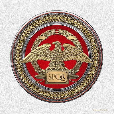 Gold Roman Imperial Eagle Over Red Gold And Silver Medallion On White Leather Original