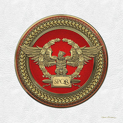 Digital Art - Gold Roman Imperial Eagle -  S P Q R  Medallion Edition Over White Leather by Serge Averbukh