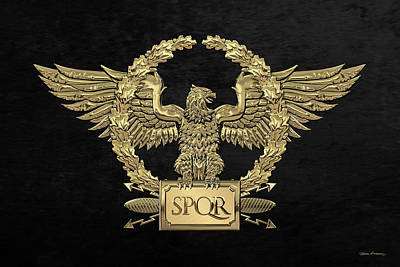 Digital Art - Gold Roman Imperial Eagle -  S P Q R  Special Edition Over Black Velvet by Serge Averbukh