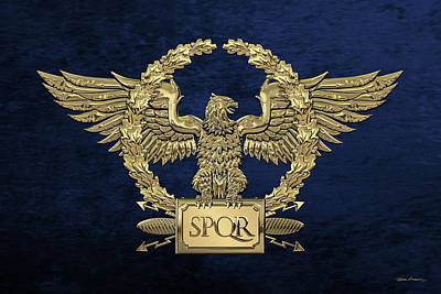 Digital Art - Gold Roman Imperial Eagle -  S P Q R  Special Edition Over Blue Velvet by Serge Averbukh
