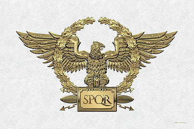 Digital Art - Gold Roman Imperial Eagle -  S P Q R  Special Edition Over White Leather by Serge Averbukh