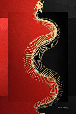Digital Art - Gold Snake Skeleton Over Black And Red Canvas by Serge Averbukh