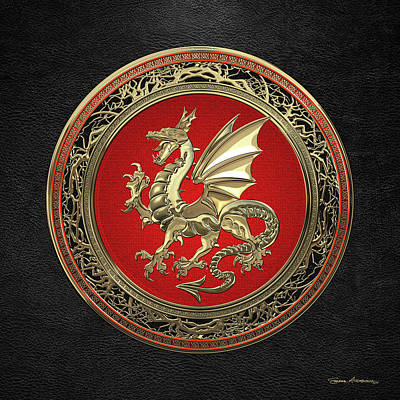 Digital Art - Gold Winged Norse Dragon - Icelandic Viking Landvaettir On Red And Gold Medallion Over Black Leather by Serge Averbukh