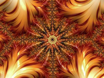 Digital Art - Golden Autumn Mandalbrot Abstract by Georgiana Romanovna
