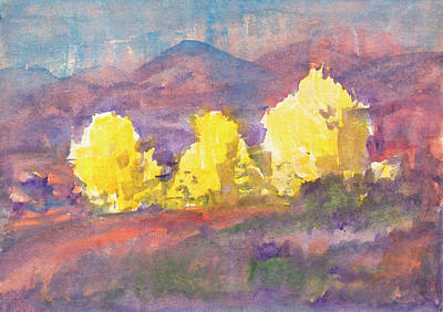 Painting - Golden Autumn - Three Aspens On A Hillock by Irina Dobrotsvet
