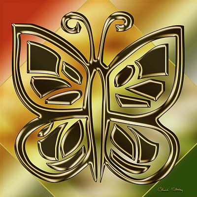 Digital Art - Golden Butterfly by Chuck Staley