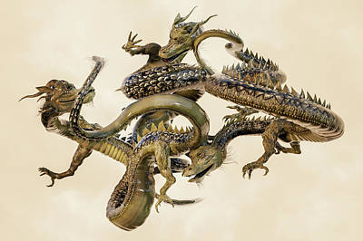 Reptiles Royalty-Free and Rights-Managed Images - Golden Chinese Dragons by Betsy Knapp
