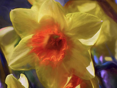 Mixed Media - Golden Daffodil Brilliance by Lynda Lehmann