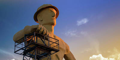 Royalty-Free and Rights-Managed Images - Golden Driller of Tulsa Oklahoma Colorful Panorama by Gregory Ballos