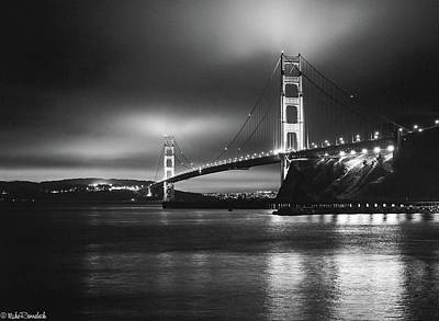 Photograph - Golden Gate Bridge B/w by Mike Ronnebeck