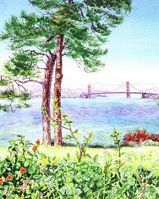 Sports Paintings - Golden Gate Bridge From Lincoln Park by Irina Sztukowski