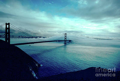 Surrealism Royalty-Free and Rights-Managed Images - Golden Gate Bridge on a Surreal Foggy Day by Wernher Krutein