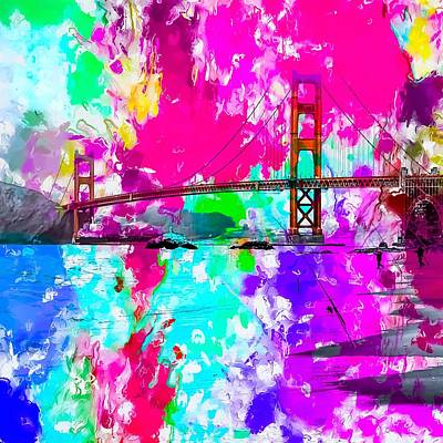 Fun Patterns - Golden Gate bridge, San Francisco, USA with pink blue green purple painting abstract background by Tim LA