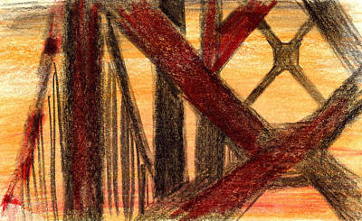 Painting - Golden Gate Bridge Sketch In Orange  by Rene Capone
