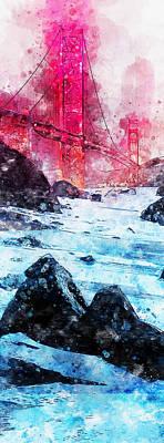 Painting - Golden Gate Bridge - Watercolor 05 by Andrea Mazzocchetti