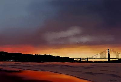 Painting - Golden Gate Sunset by Becky Herrera