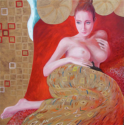 Other Painting - Golden Girl With A Kitty by Rand Polgar