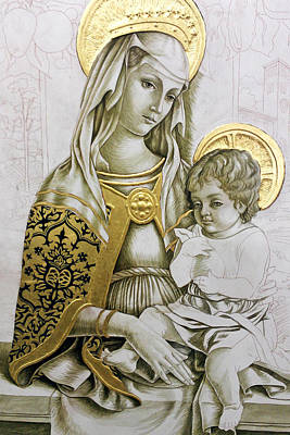 Photograph - Golden Holy Family by Munir Alawi