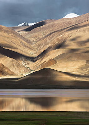Photograph - Golden Light Tso Moriri, Karzok, 2006 by Hitendra SINKAR