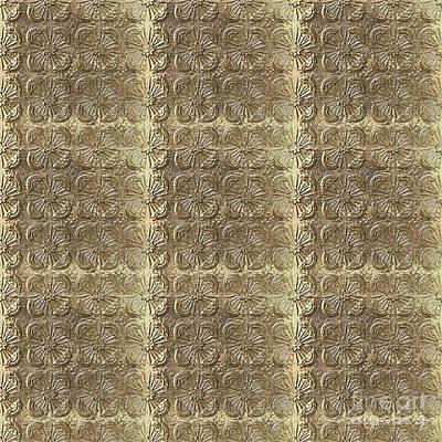 Digital Art - Golden Metallic Pattern by Irina Dobrotsvet