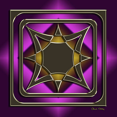 Digital Art - Golden Mocha On Purple 10 by Chuck Staley