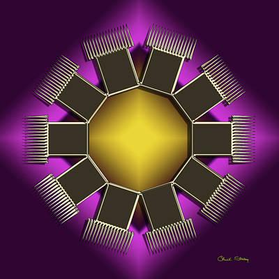 Digital Art - Golden Mocha On Purple 5 by Chuck Staley