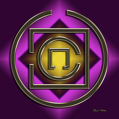 Digital Art - Golden Mocha On Purple 9 by Chuck Staley