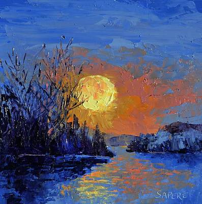 Lynee Sapere Wall Art - Painting - Golden Moon by Lynee Sapere