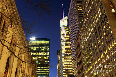Photograph - Golden Night In New York City by John Rizzuto