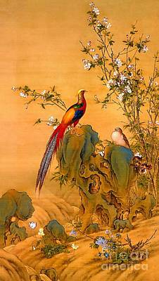 Digital Art - Golden Pheasants In Spring by Ian Gledhill