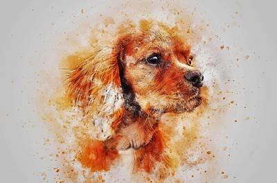 Watercolor Pet Portraits Digital Art - Dachshund by ArtMarketJapan