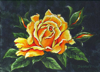 Painting - Golden Rose Sketch by Richard De Wolfe