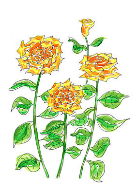 Mixed Media - Golden Roses by Steven Clarke