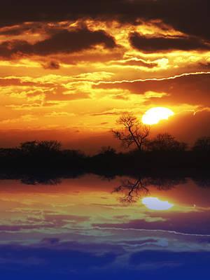 Photograph - Golden Sunset Reflections Vertical by Gill Billington