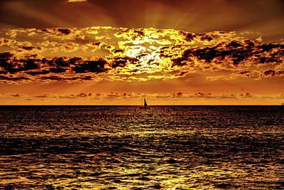 Photograph - Golden Sunset Sail by John Bauer