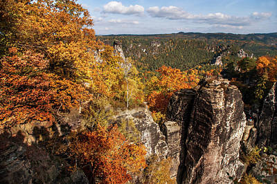 Curated Weekender Tote Bags - Golden Veil Over Rocks. Saxon Switzerland by Jenny Rainbow