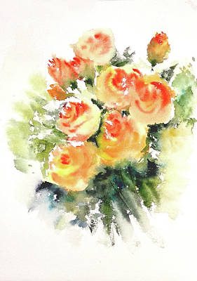 Painting - Golden Yellow Roses by Asha Sudhaker Shenoy