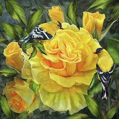 Mixed Media - Goldfinches On Gold Roses by Carol Cavalaris