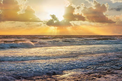 Photograph - Golds In The Sky And In The Waves by Debra and Dave Vanderlaan