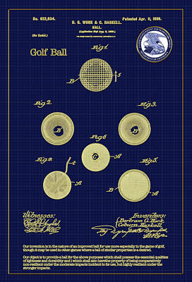 Digital Art - Golf Ball Patent Drawing 1899 by Carlos Diaz