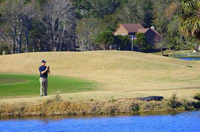 Photograph - Golfer And Alligator  by Cynthia Guinn