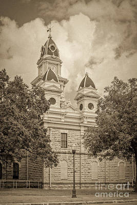 Photograph - Goliad Courthouse In Sepia by Imagery by Charly