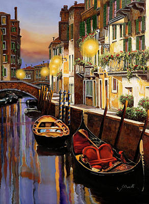 Jacob Kuch Vintage Art On Dictionary Paper - Gondola Al Crepuscolo by Guido Borelli