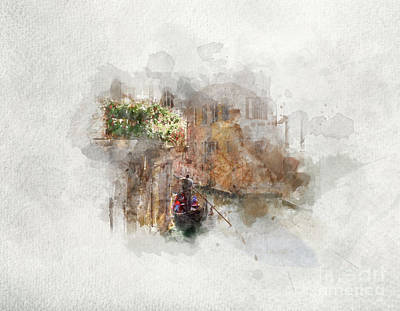 Photograph - Gondola Floating On A Canal. Watercolor Art. by Michal Bednarek